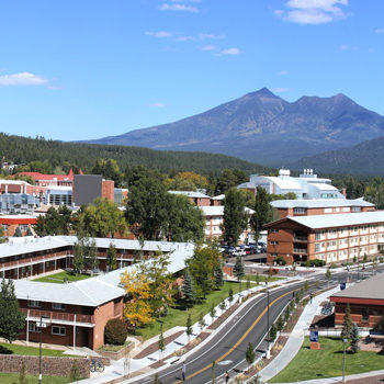 Northern Arizona University set against the San Francisco Peaks in Flagstaff, Arizona