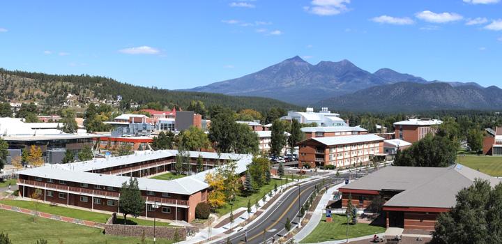 Northern Arizona University set against the San Francisco Peaks in Flagstaff, Arizona