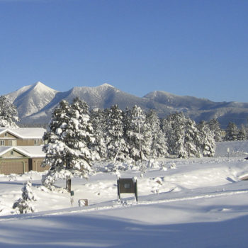 Flagstaff, Arizona in the winter, the San Francisco Peaks