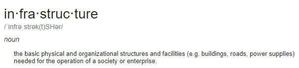 infrastructure definition from Google taken 4/19/19 https://www.google.com/search?q=infrastructure&rlz=1C1GGRV_enUS751US751&oq=infrastructure&aqs=chrome..69i57j0l5.5783j0j7&sourceid=chrome&ie=UTF-8
