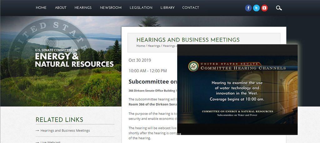 Website screenshot for Dr. Sabo's testimony