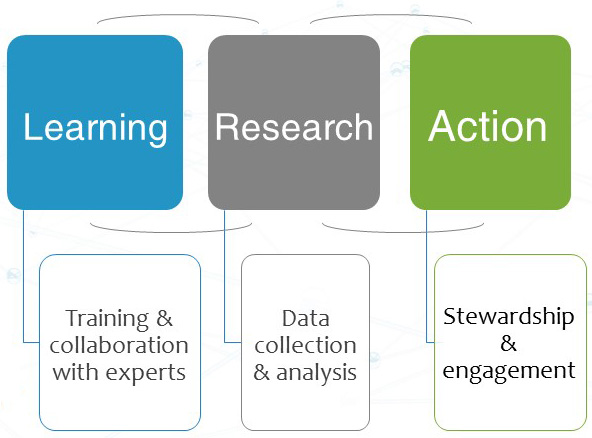Learning-Research-Action diagram